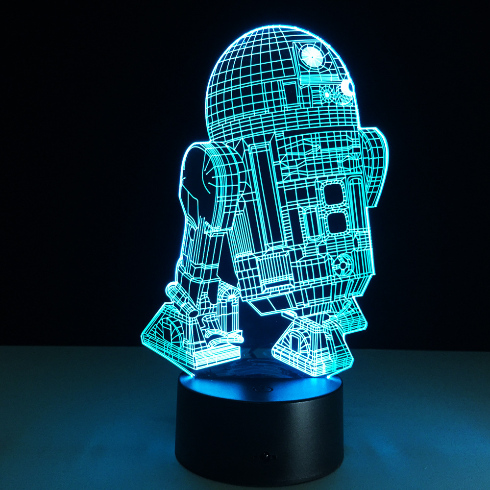 Star war R2 robot 3D toy lamp 7 color changing visual illusion LED light Star war toy action figure birthday gift novelty toy