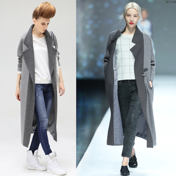 Europe Usa Fashion Show Super Long Coats Handsome Woman Wear Thin ...