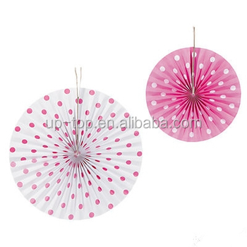 hot pink Spread dot paper fan hanging wall decor wedding party