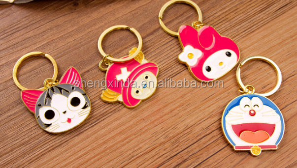 Hot Selling Popular Cartoon Cute Figuers Made Metal Key Chains for Christmas Gifts and Decorations