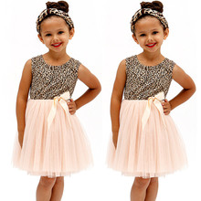 Baby Girls Princess 2016 font b Dress b font Leopard Tulle Bow Birthday Gown font b