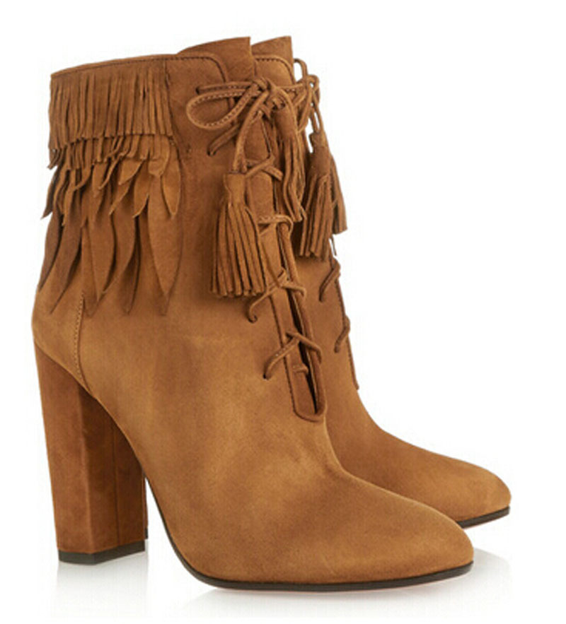 3e63ee091cd76 Get Quotations · new fashion brown suede leather ankle tassels lace up ankle  boots pointed toe square heel woman