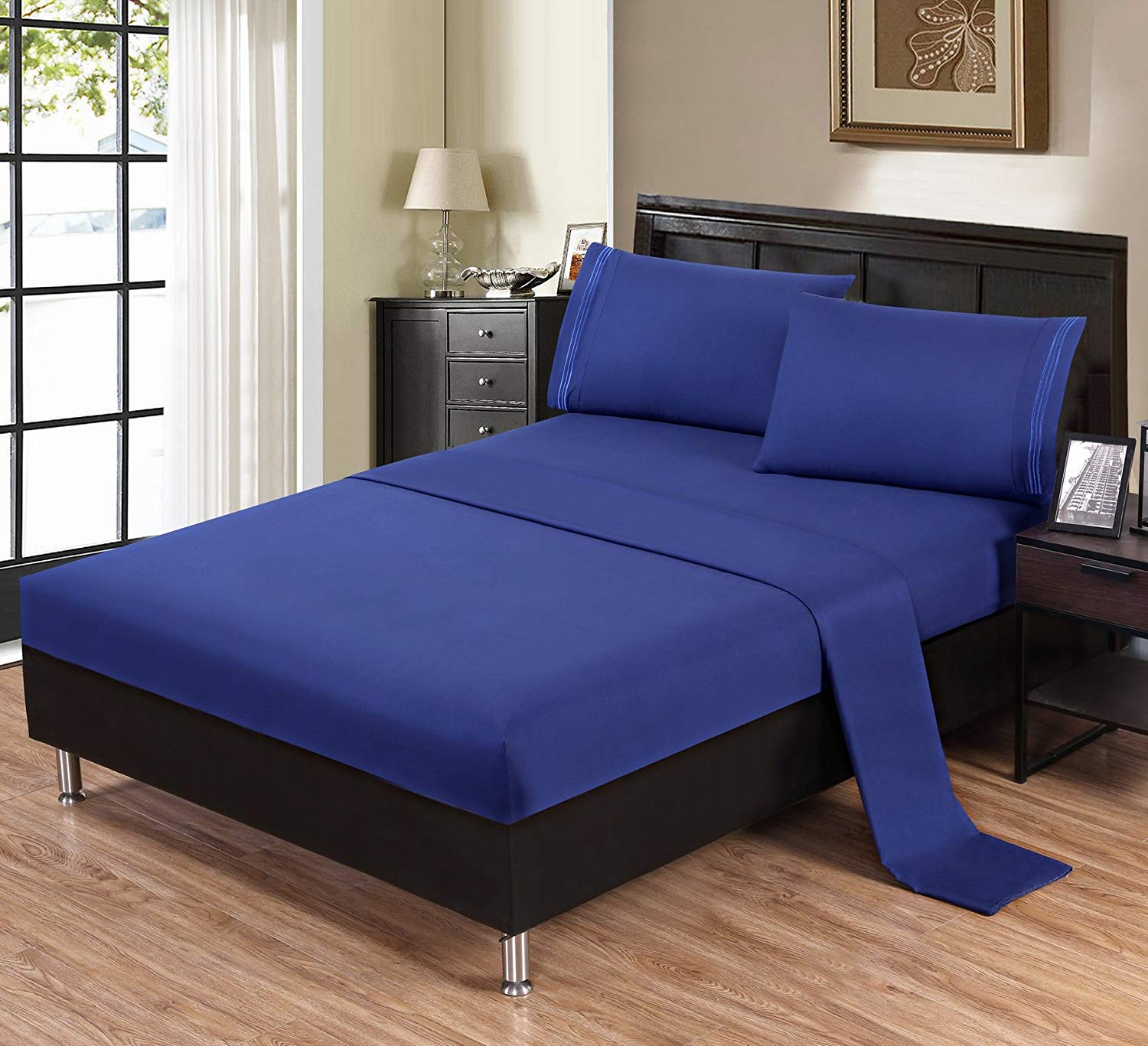 Unique Home Ultra Soft, Fade Resistant, Wrinkle Free, No Ironing Necessary, Hypoallergenic Luxury Bed Linens 1800 Series Microfiber Sheet Set (Navy, King 3LN)