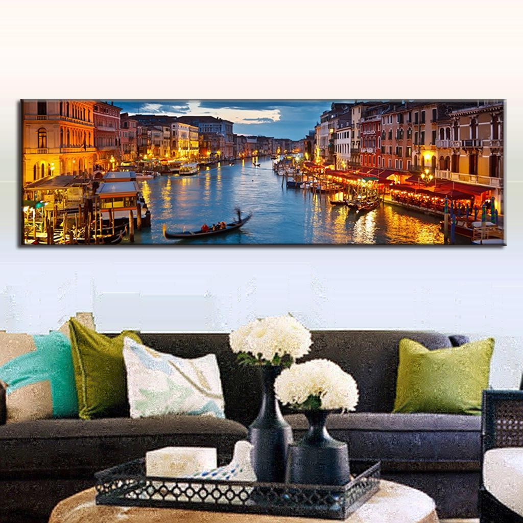 super large painting oil single landscape canvas painting living room decor the water town oil. Black Bedroom Furniture Sets. Home Design Ideas