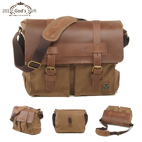 1e8749ea93 Get Quotations · New High Quality Vintage Women Crossbody Bag Canvas Leather  Satchel Military Bag Bolsa Masculina Brand Men s