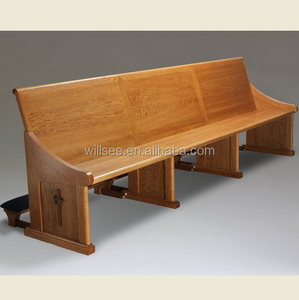 CH-B080, Solid Oak Wood Long Church Benches Pews With Kneeler and Carved Logo on the Pew End