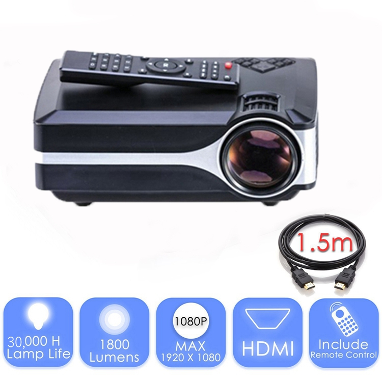 2018 new gift 1800 lumen LCD HD tv video home cinema projector support 1080p