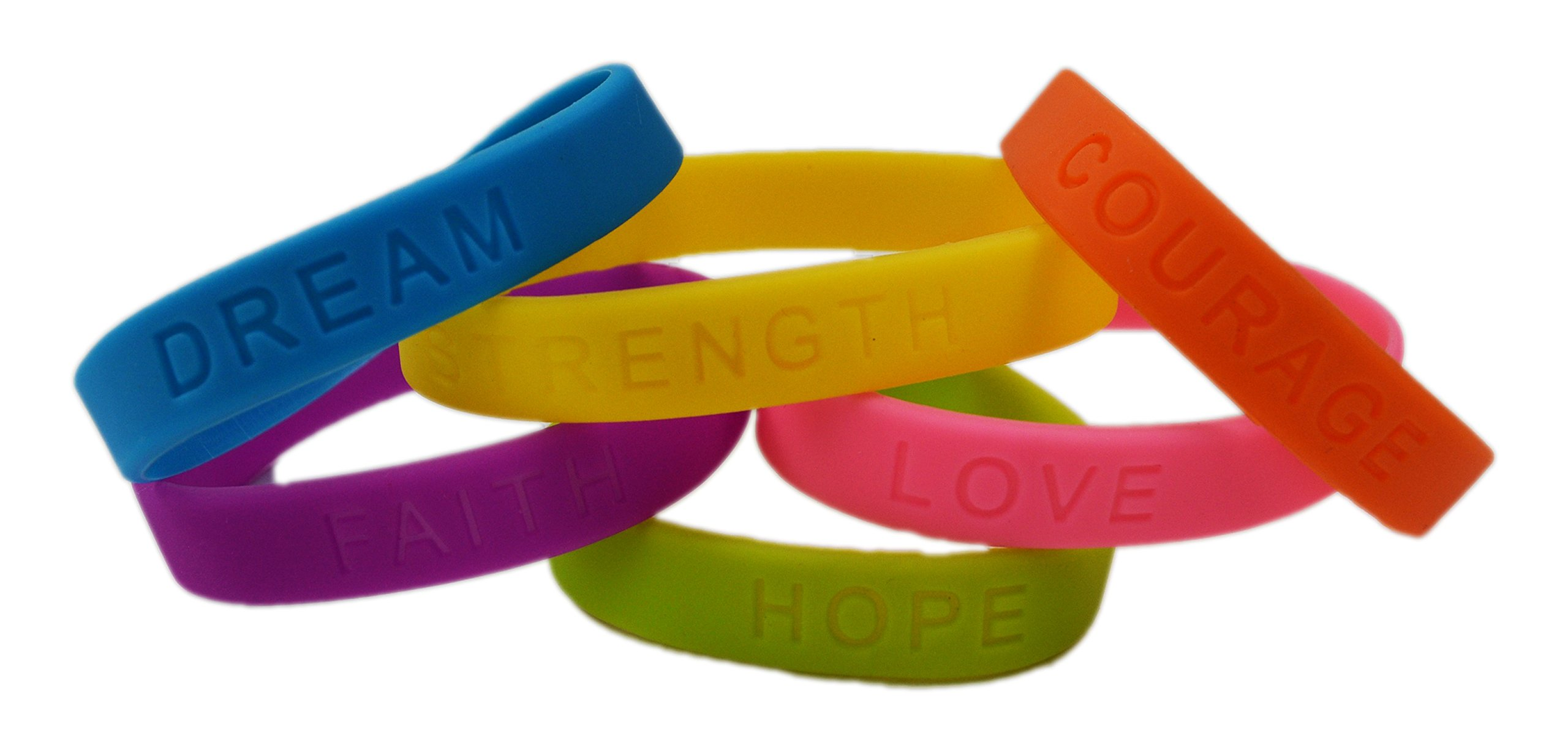Rubber Bracelets | Dazzling Toys Assorted Colors Inspirational Sayings Bracelets 4 Dozen | Bracelets Have Messages of Dream, Hope, Love, Faith, Courage, and Strength.