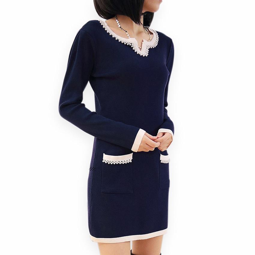 270a8adde0e9 Get Quotations · Beading O-Neck Pockets Full Sleeve Autumn Women Mini Dress  2015 New Ladies Short Sexy
