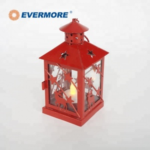EVERMORE LED metal frame glass deer pattern chinese new year decoration candle lantern light