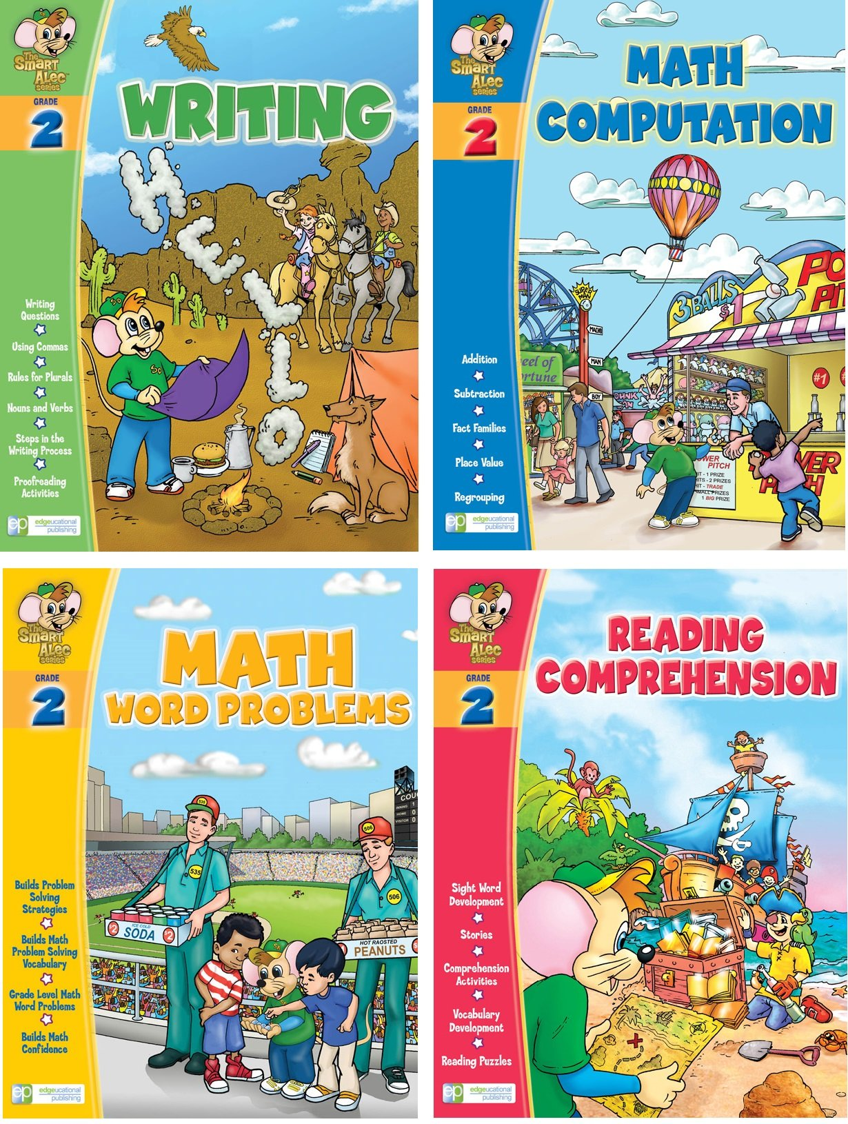 Smart Alec (2nd Grade) Four Pack Learning Series, Includes: Writing, Math Readiness, Reading Readiness, Math Word Problems