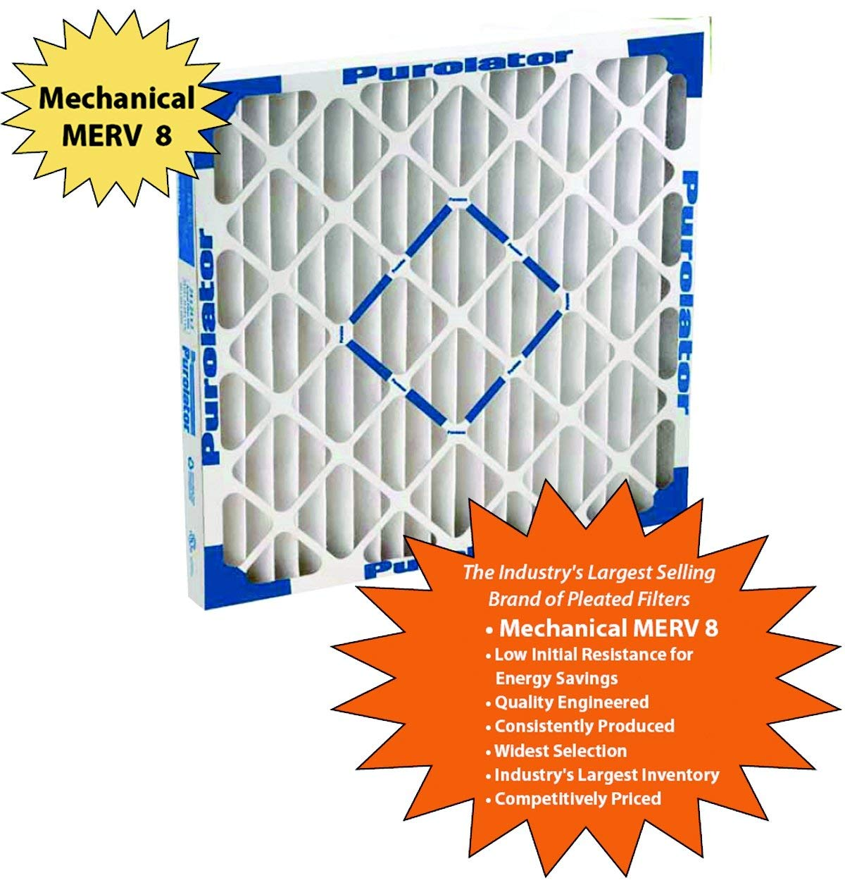 KP-20x25x4x2.AZ.DSC Furnace Air Filter STCC 20x25x4 Purolator Key Pleat Extended Surface Pleated Air Filter Mechanical MERV 8 Assigned by Sterling Seal /& Supply, Pack of 2