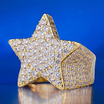 KRKC&CO14K Gold Plated Five-Pointed Star Ring Iced Out Ring Hip Hop Jewelry for Mens Finger Ring Fashion