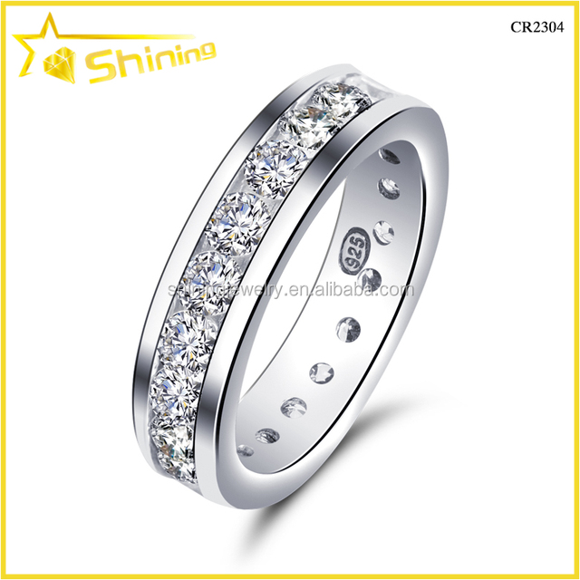 CR2304 Classical Western Style Wedding Ring Cz Ring Bezel Setting Silver  Ring