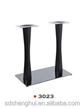 Brushed Steel Twin Pedestal Dining Table Base Metal Legs