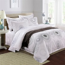 luxury reactive cotton 7pcs print / embroidered bedding comforter set