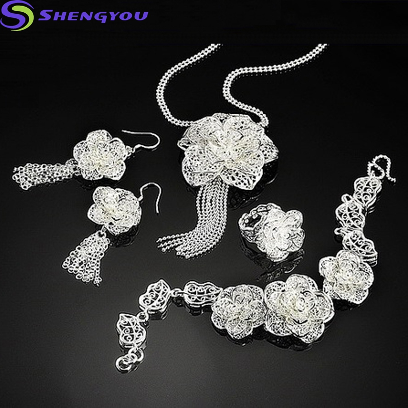 Newest Model Flower Shape 925 Silver Plated Fine Jewelry Ring Set for Women