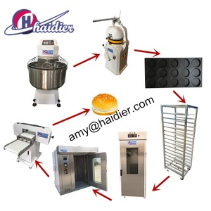 Automatic Bun Divider Rounder Bread Roll Line (including Spiral Dough Mixer,Dough Rounder,Bakery Oven Hamburger bread slicer )