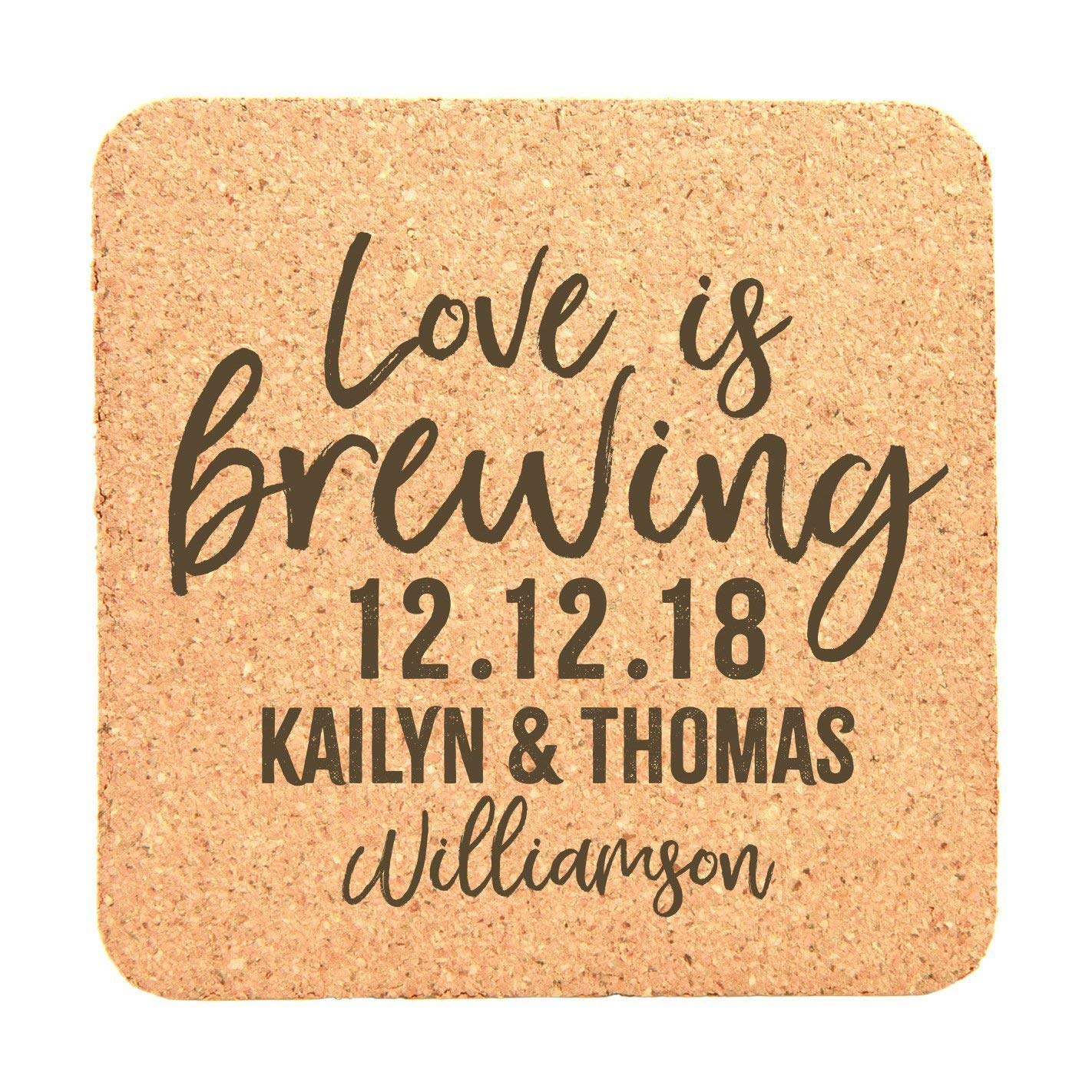 Personalized Wedding Cork Coasters With Date, Names, and Last Name Set of 25