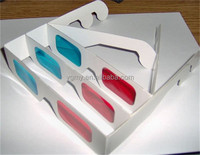Red Cyan Blue Paper Card 3D 3-D Anaglyph 3D Glasses White