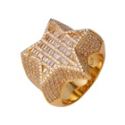Homens 3D STAR Baguette Diamante Pinky RING 14k Ouro ICED OUT