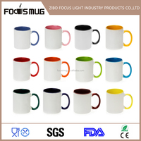 11 oz Personalized white black Sublimation Ceramic Coffee Mug for Picture Printing