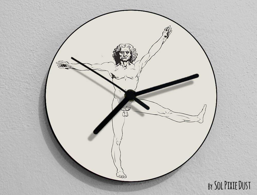 Funny Vitruvian Man 1, Leonardo da Vinci, Anatomy, Leonardo Da Vinci Drawing, Da Vinci Illustration, - Wall Clock