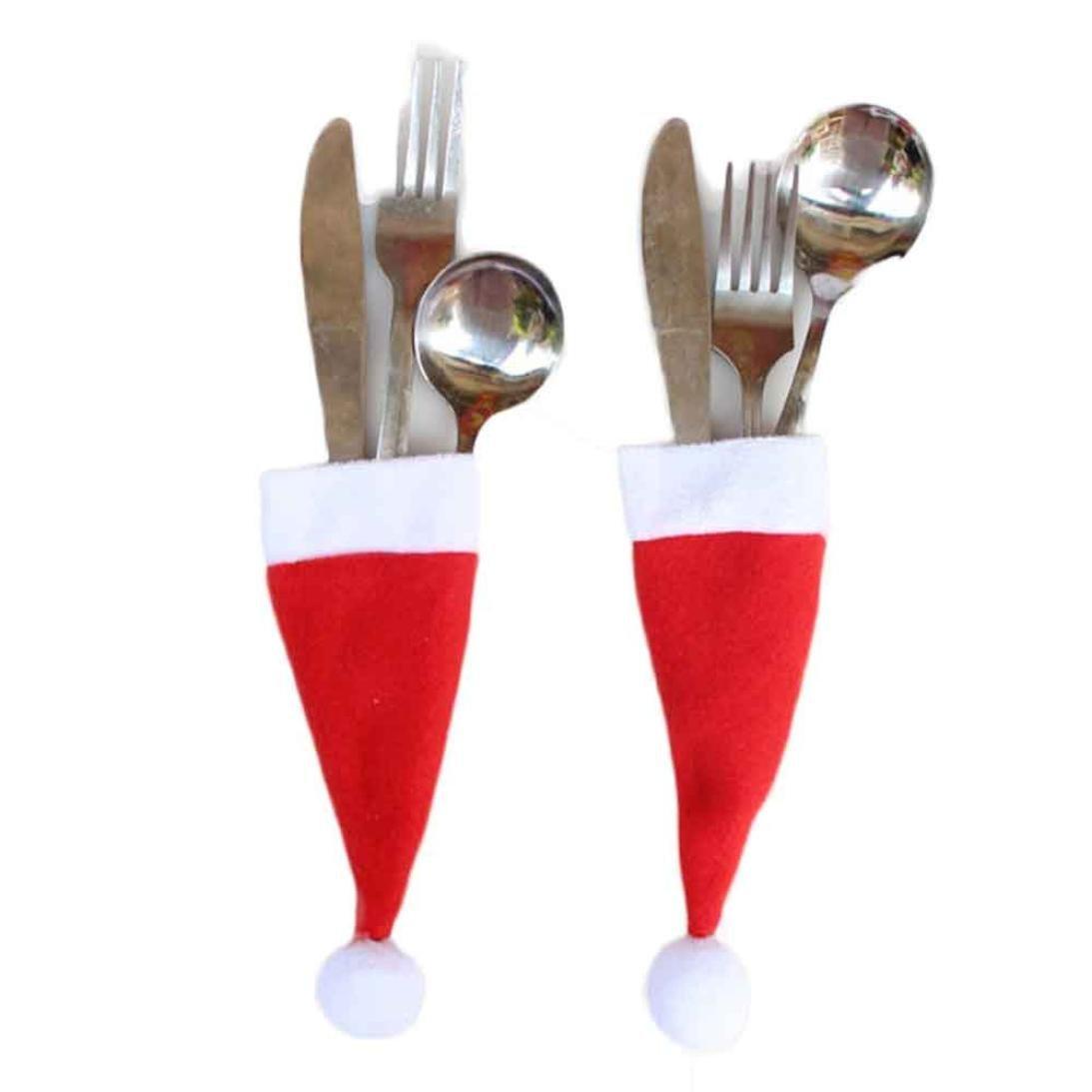 Witspace Christmas Decorative Tableware Knife Fork Storage Tool Set Christmas Dinnerware Tool Hat