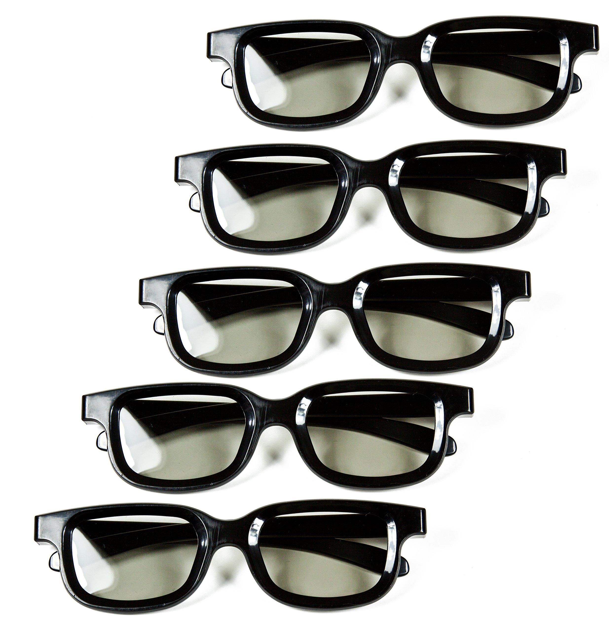 Optical Prime 3D (5 Pack) 3D Cinema Glasses For Passive TVs – Movie Theater Glasses - Circular Polarized.