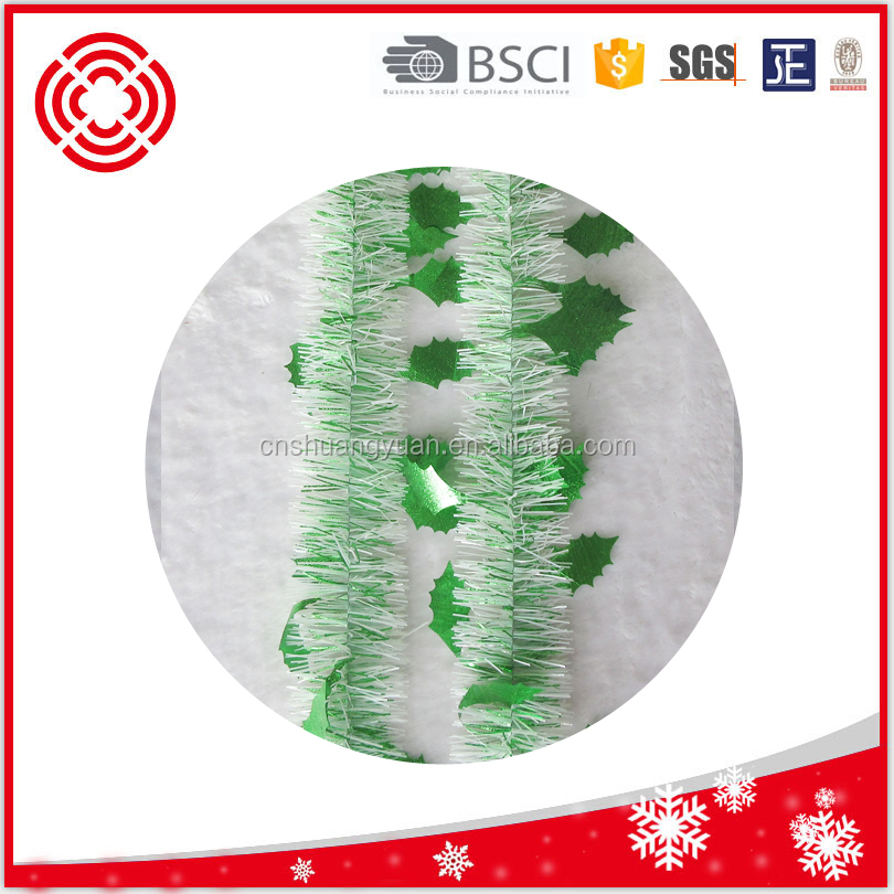 Machine cut green tinsel garland for xmas tree decoration