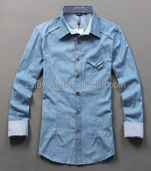 Korean Fitted Latest Fashion Men's Casual Jean Shirts,Wholesale ...