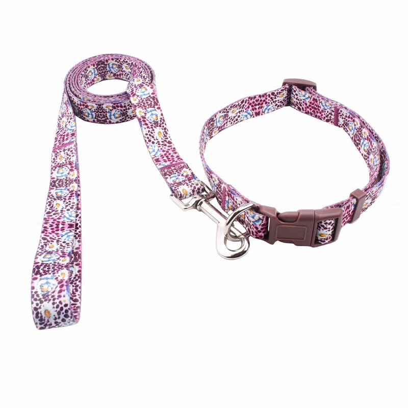 Christmas promotional pet collars leashes custom printed logo sublimation metal dog leads