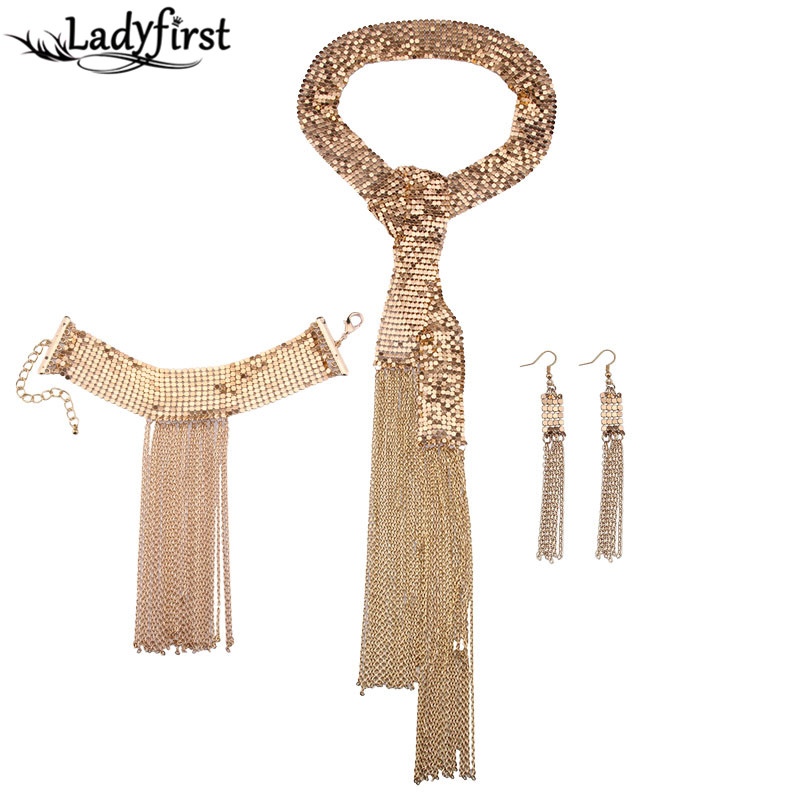 Ladyfirst Brand Fashion Jewelry Bohemian Metal Maxi Tassel Collar Chokers Long Collier 3 Pcs Set Wedding Statement Necklace 3881