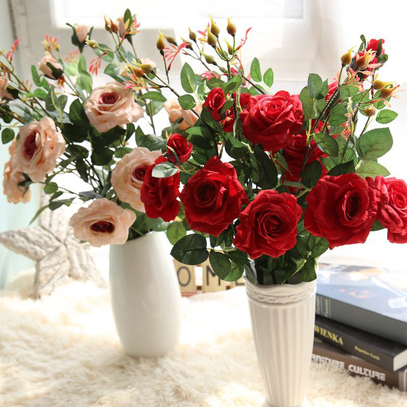 artificial <strong>flowers</strong> 3 it rose <strong>flower</strong> wholesale manufacturers wedding decoration Home Furnishing <strong>flowers</strong> cross-border