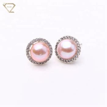 3f126c349 Fashion Luxury earring designs pearl earring sterling silver round stud  earrings for lady