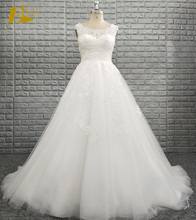 Latest Bateau Neckline Sleeveless Lace Appliques A-line Long Tail Wedding Bride Dress 2018