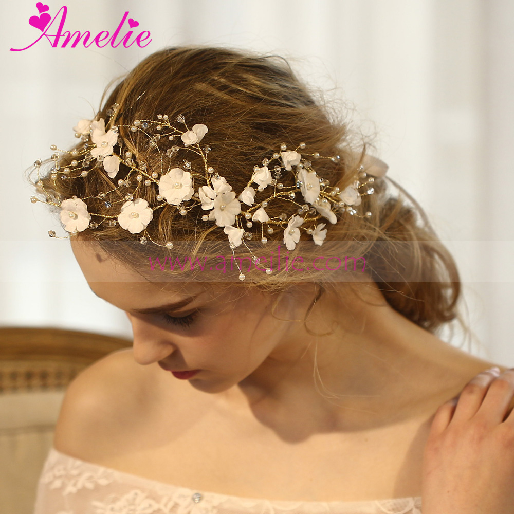 Victorian Beach Wedding Gold Plated Hand Wired Rhinestone Branch Blossom Girls Hairbands Fairy Halo