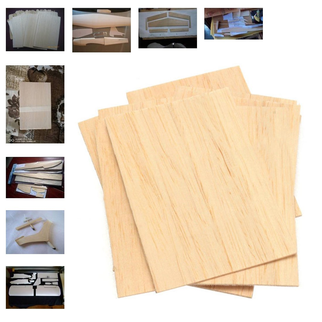 Balsa Wood Plate Sheets Wooden for Airplane Boat DIY Model 150x100x2mm 10Pcs