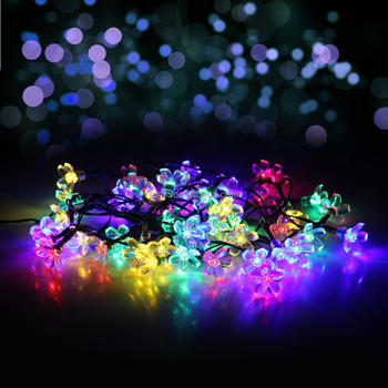 solar christmas light 50 led multi color christmas led tree lights peach blossom string christmas decoration