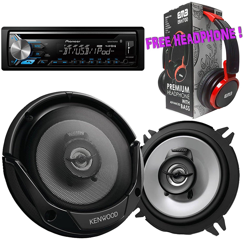 """Package - Pair of Kenwood KFC-1365S 5-1/4"""" 250W 2-way Car Speakers + Pioneer DEH-X3900BT Single-DIN In-Dash Bluetooth CD Receiver + Free EBH700 Headphone"""