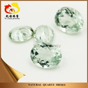 Oval natural facets cut green amethyst natural green aventurine quartz stone