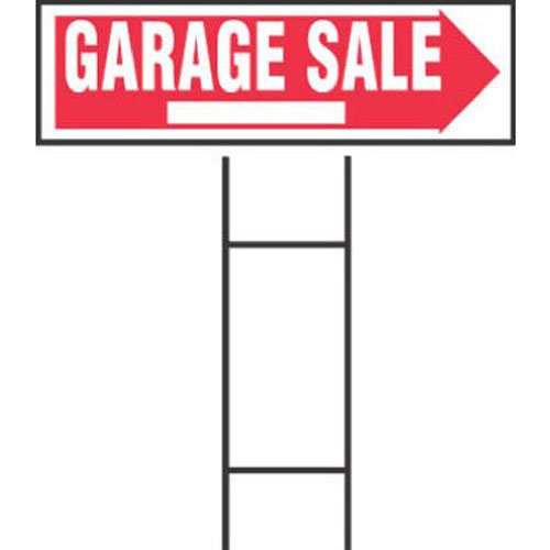 """Hy-Ko Products RS-804 Garage Sale Corrugated Plastic Sign w/ H Bracket 9.25"""" x 24"""" Red/White, 1 Piece"""