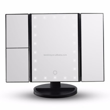 Dimmable Brightness Adjustable Beauty Square Vanity Desk Stand Mirror Three Folding 22 led lamp makeup mirror