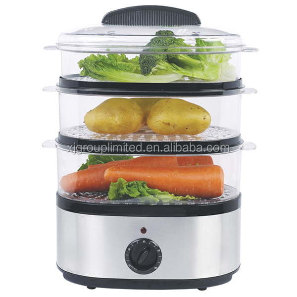 3 layers steam cooker 8L capacity stainless steel food steamer XJ-92214/IVS