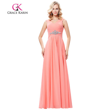 Grace Karin Sleeveless V-Neck Chiffon Pink Prom Dress Long GK000128-1