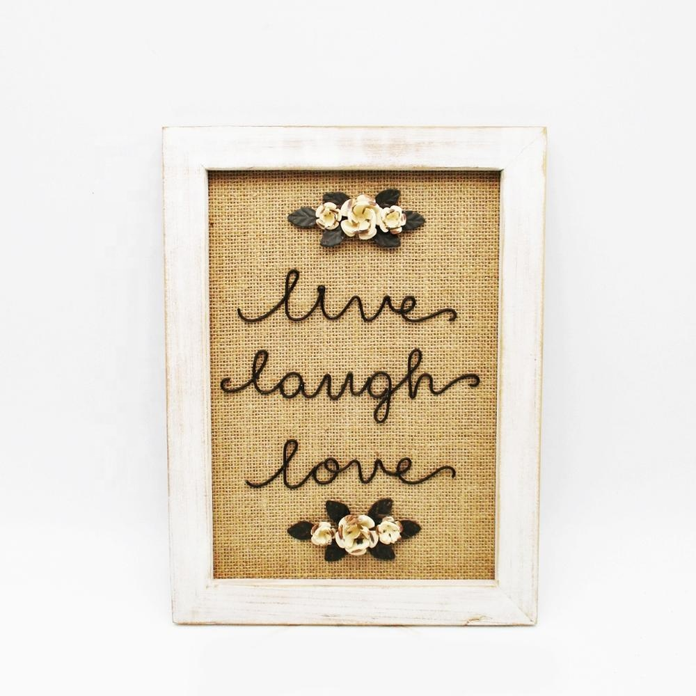 Burlap And Wood Wall Art Sign Plaque With Motivational Quotes Live Laugh  Love - Buy High Quality Wall Art Sign Plaque,Motivational Quote ...