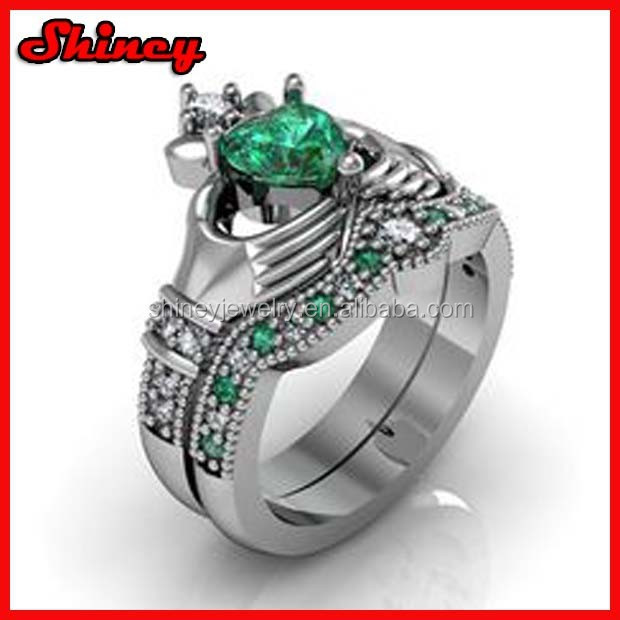 New priness cut emerald crown wedding ring set model with rhodium plated women white gold engagement ring