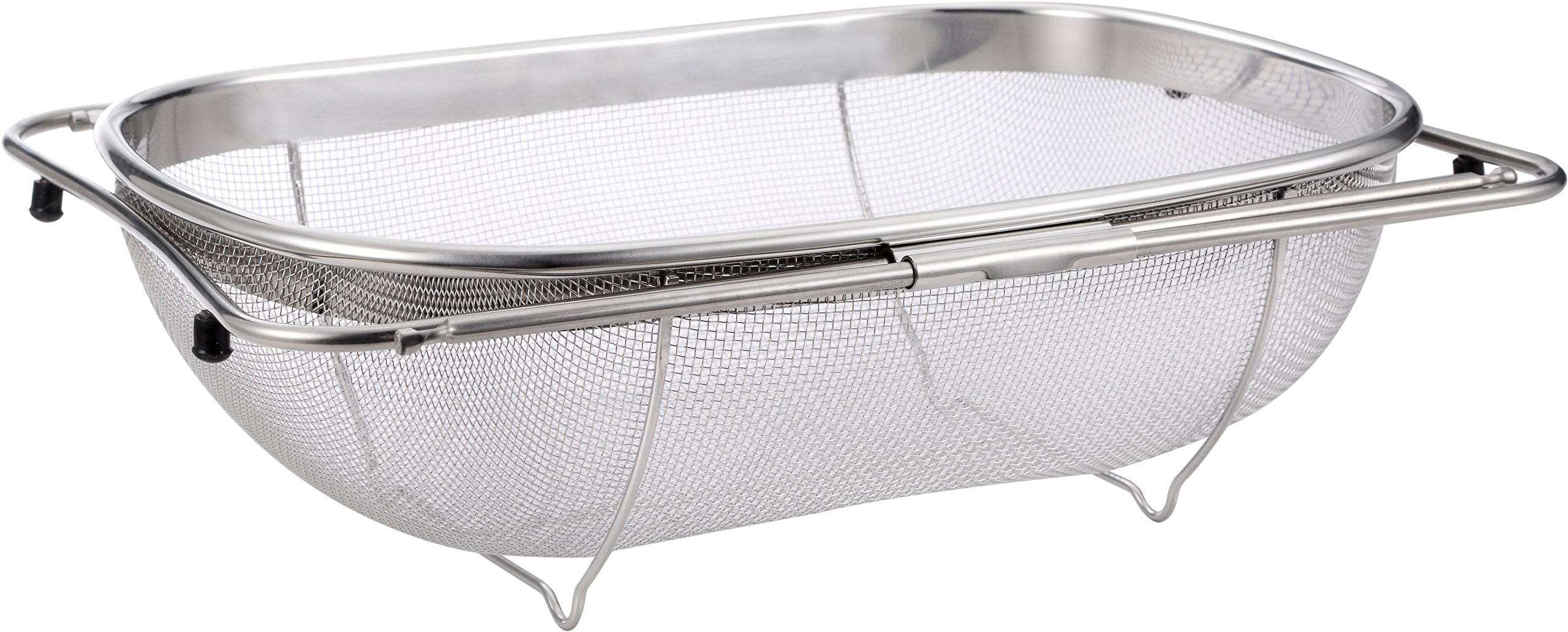 Pro Chef Kitchen Tools Stainless Steel Over the Sink Strainer - 6 Quart Fine Mesh Sieve Metal Colander Extendable Collapsible Handles Expands Over All Sinks for Washing Vegetables or Draining Pasta