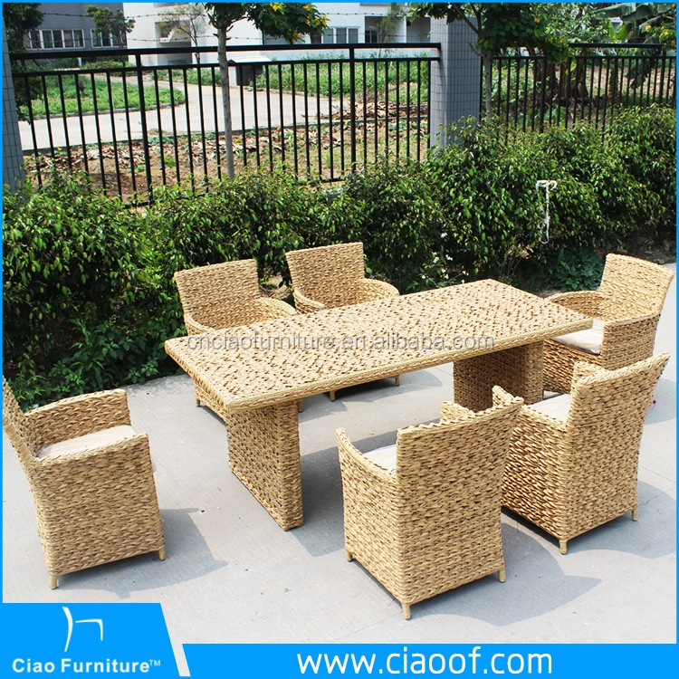 Twisted cane furniture restaurant table and chairs dining set