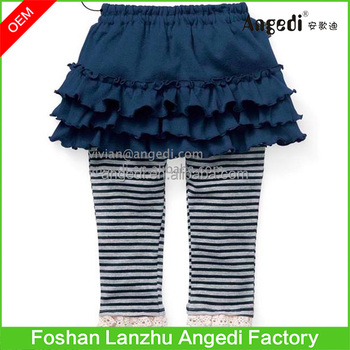 aa9cf715024b4 Toddler Girls Striped legging with Ruffle Peplum skirt floral printed  Tiered skirts legging